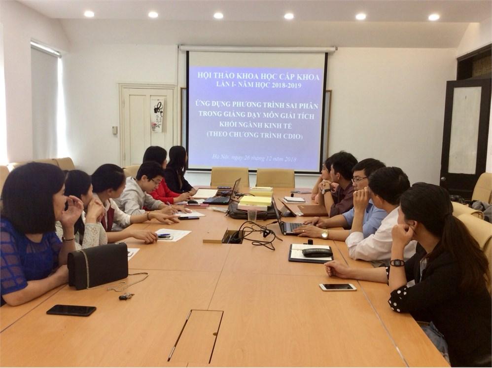 """Hội thảo: """"Ứng dụng phương trình sai phân trong giảng dạy môn giải tích khối nghành kinh tế theo chương trình CDIO"""""""